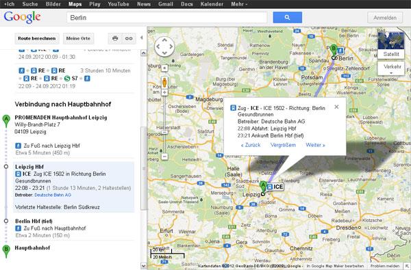 Fahrplanauskunft in Google Maps