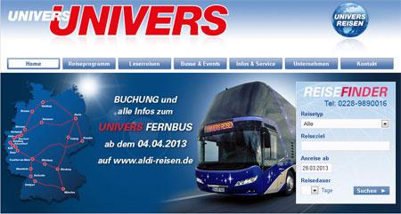 Ankündigung auf der Univers Homepage