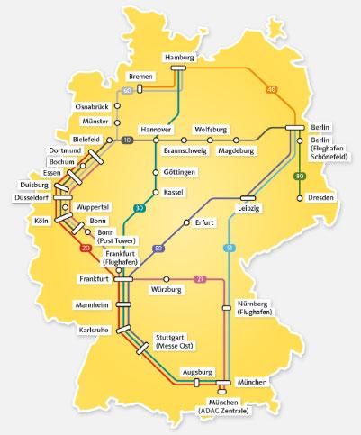 ADAC Postbus Streckennetz