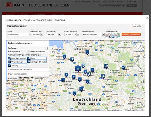 Ausflugsziele für Hannover mit der Umkreissuche der Bahn