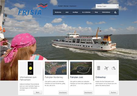 Screenshot der Homepage der Reederei Frisia