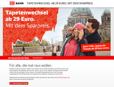 Screenshot Homepage Deutsche Bahn