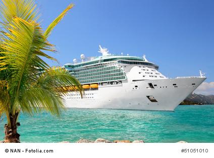 Kreuzfahrtschiff unter Palmen