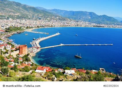 Blick auf Alanya an der türkischen Riviera