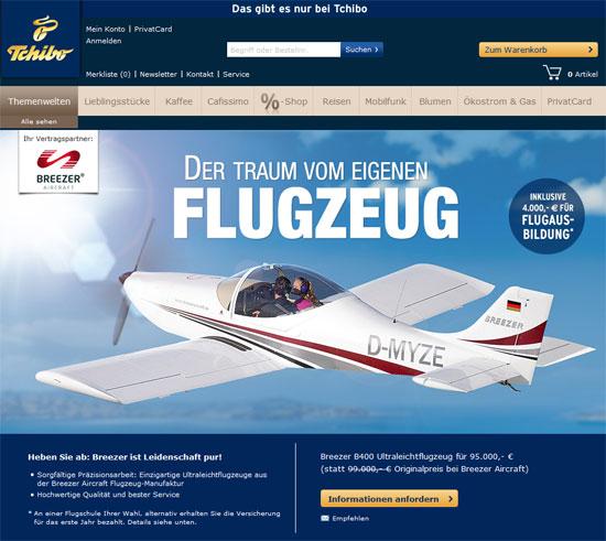 Flugzeug im Tchibo Webshop