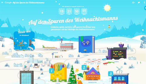 """Screenshot """"Google Auf den Spuren des Weihnachtsmanns"""""""