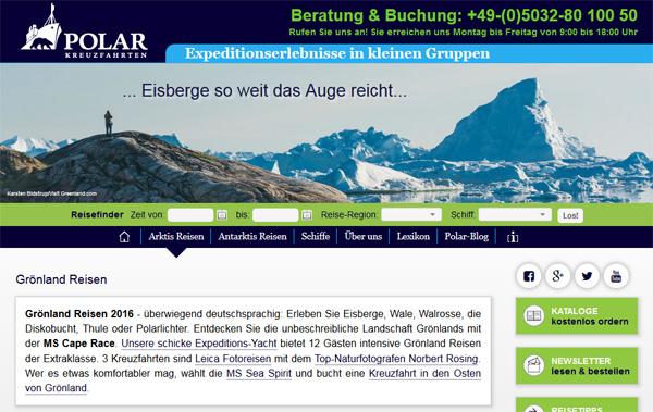 ScreenShot von polar-kreuzfahrten.de | © Polar Kreuzfahrten