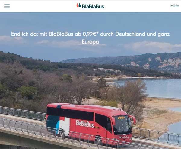 Screenshot Website von BlaBlaBus