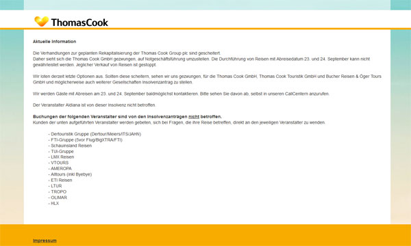 Screenshot thomascook.de
