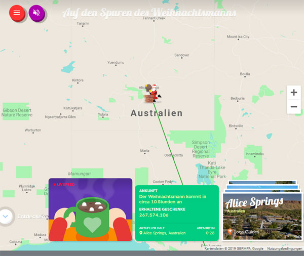 Santa Tracker von Google