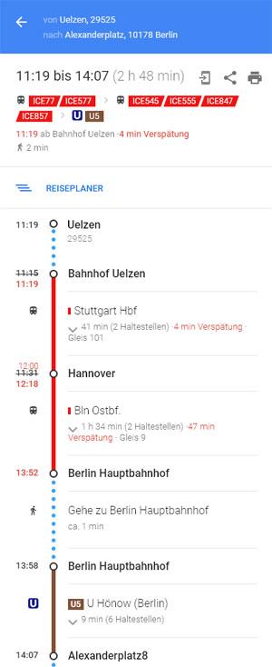 Screenshot Google Maps Zugverbindung