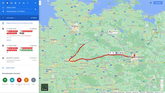 Screenshot Google Maps Routenplanung